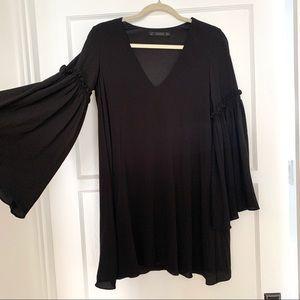 Zara Black Bell Sleeve Dress - sz Small